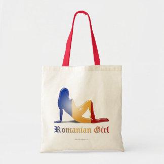 Bandera rumana de la silueta del chica
