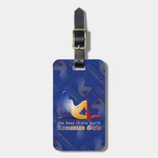 Bandera rumana de la silueta del chica etiquetas para equipaje