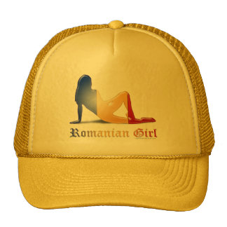 Bandera rumana de la silueta del chica gorro de camionero