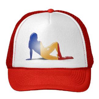 Bandera rumana de la silueta del chica gorras de camionero