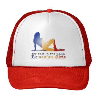 Bandera rumana de la silueta del chica gorros