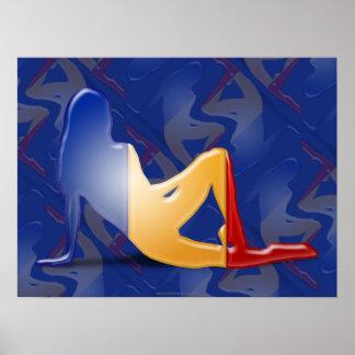 Bandera rumana de la silueta del chica poster