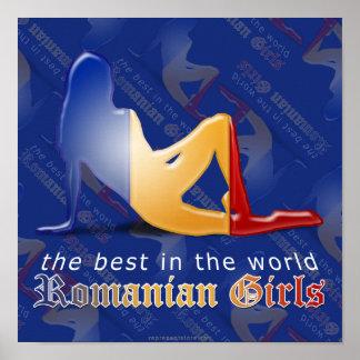 Bandera rumana de la silueta del chica impresiones