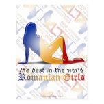 Bandera rumana de la silueta del chica postales