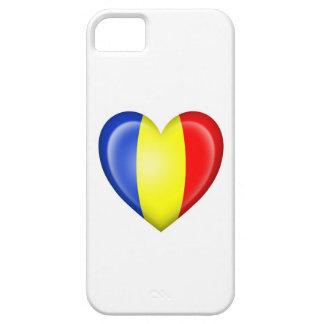 Bandera rumana del corazón en blanco iPhone 5 carcasas
