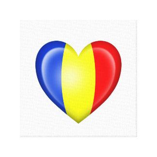 Bandera rumana del corazón en blanco lona envuelta para galerías
