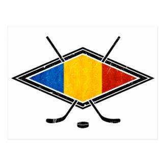 Bandera rumana del hockey sobre hielo postal