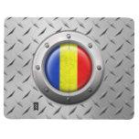 Bandera rumana industrial con el gráfico de acero cuadernos grapados