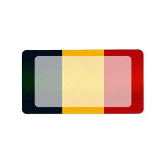 Bandera rumana pelada moderna etiqueta de dirección