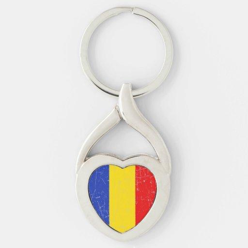Bandera rumana rascada y rasguñada llaveros