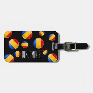 Bandera rumana redonda brillante etiqueta de equipaje
