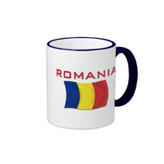 Bandera rumana (roja) taza a dos colores