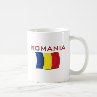 Bandera rumana (roja) taza básica blanca