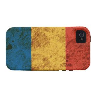 Bandera rumana rugosa iPhone 4/4S fundas