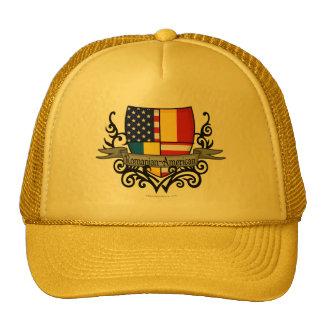 Bandera Rumano-Americana del escudo Gorras