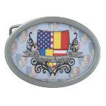 Bandera Rumano-Americana del escudo Hebillas Cinturón Ovales