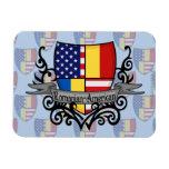 Bandera Rumano-Americana del escudo Iman