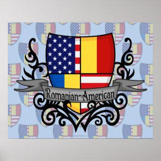 Bandera Rumano-Americana del escudo Impresiones