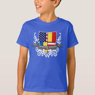 Bandera Rumano-Americana del escudo Remera