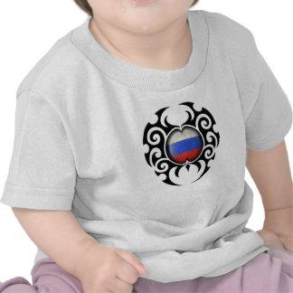 Bandera rusa agrietada tribal negra