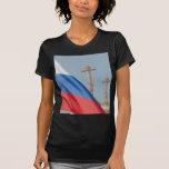 Bandera rusa camisetas