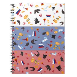Bandera rusa con los estereotipos del país note book