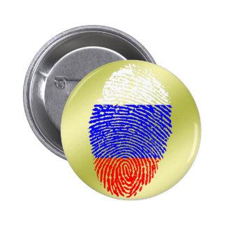 Bandera rusa de la huella dactilar del tacto pin redondo de 2 pulgadas