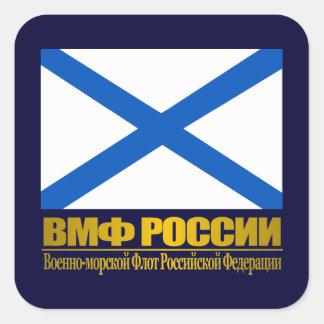"""""""Bandera rusa de la marina de guerra """" Pegatina Cuadrada"""
