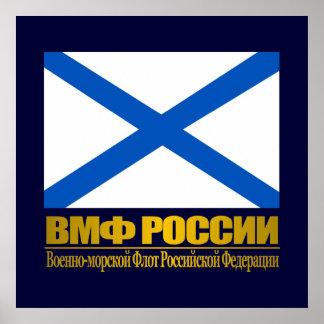 """""""Bandera rusa de la marina de guerra """" Póster"""