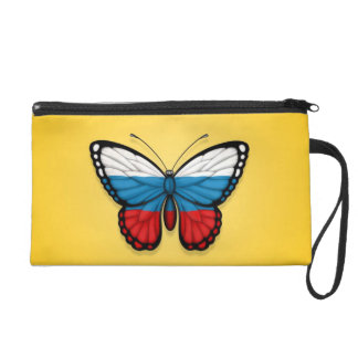 Bandera rusa de la mariposa en amarillo