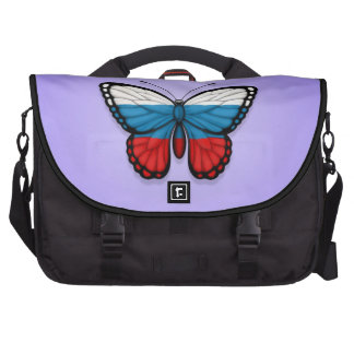Bandera rusa de la mariposa en púrpura bolsas de ordenador