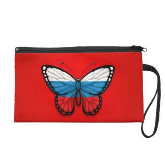 Bandera rusa de la mariposa en rojo