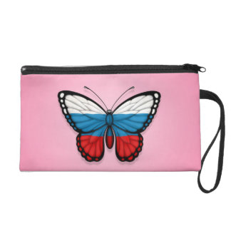 Bandera rusa de la mariposa en rosa