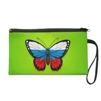 Bandera rusa de la mariposa en verde