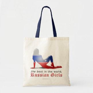 Bandera rusa de la silueta del chica bolsas de mano