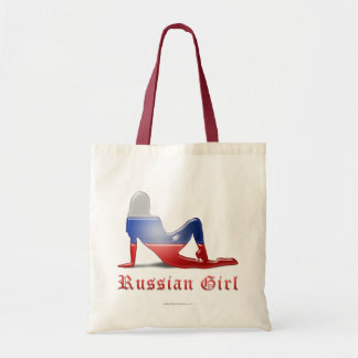 Bandera rusa de la silueta del chica bolsa