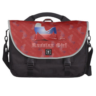 Bandera rusa de la silueta del chica bolsas de ordenador