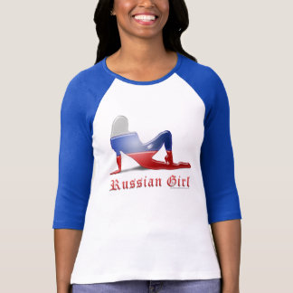 Bandera rusa de la silueta del chica camiseta