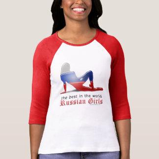 Bandera rusa de la silueta del chica camisetas