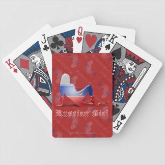 Bandera rusa de la silueta del chica cartas de juego