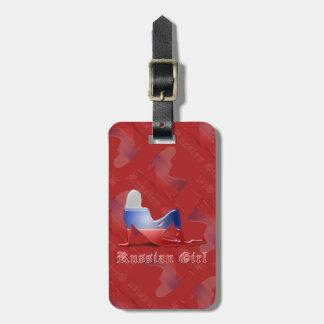 Bandera rusa de la silueta del chica etiqueta para equipaje