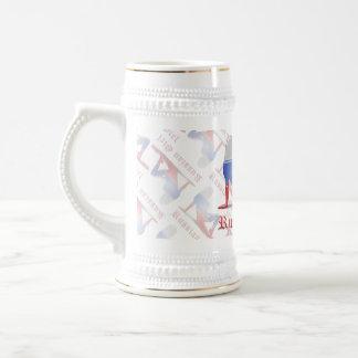 Bandera rusa de la silueta del chica jarra de cerveza