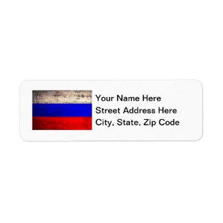 Bandera rusa de madera vieja etiquetas de remite