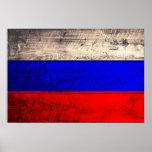 Bandera rusa de madera vieja impresiones