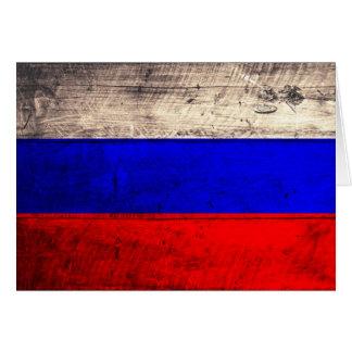 Bandera rusa de madera vieja tarjeta pequeña