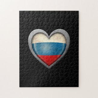 Bandera rusa del corazón con efecto del metal rompecabeza