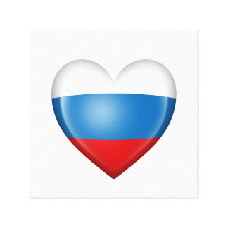 Bandera rusa del corazón en blanco lienzo envuelto para galerias
