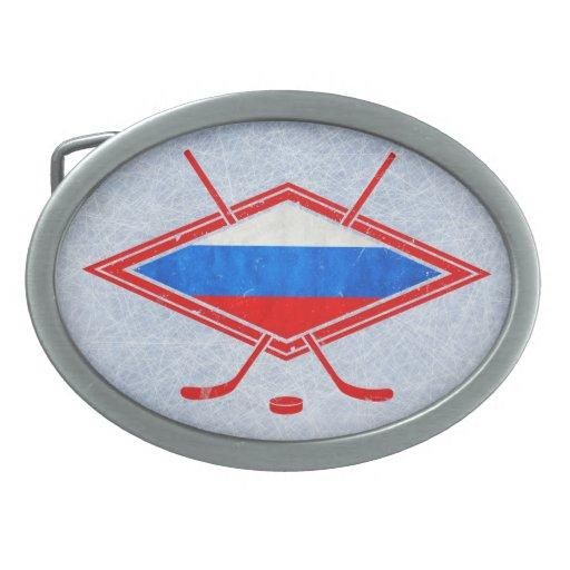 Bandera rusa del hockey sobre hielo hebillas cinturon ovales