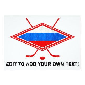 """Bandera rusa del hockey sobre hielo invitación 5"""" x 7"""""""
