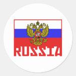 Bandera rusa etiqueta redonda